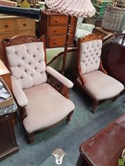 Sale 8566 - Lot 1268 - Pair of Victorian Grandmother Grandfather Chairs