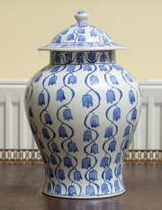 Sale 8677B - Lot 524 - A Nanjing Road blue and white lidded baluster vase with bluebell design, Height 32cm