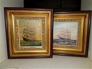 Sale 8686 - Lot 2077 - C S Brotherton (2 Works): Tallships, oil paintings, 24 x 24cm, each (frame size), each signed lower right