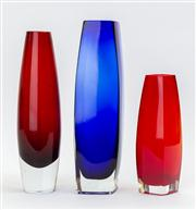 Sale 8774A - Lot 275 - A small group of contemporary glass vases in blue  and red tallest 26cm
