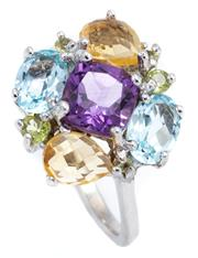 Sale 8905J - Lot 318 - A SILVER GEMSET CLUSTER RING; centring a cushion cut amethyst surrounded by blue topaz citrine and green quartz, size P.