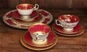 Sale 8942H - Lot 68 - A group of Aynsley maroon and gold trios together with a cake plate