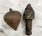 Sale 8951P - Lot 327 - Early Hand Forged Plumb Bobs x 2 (largest 8.5cm)