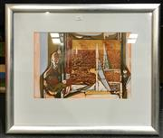 Sale 8945 - Lot 2062 - Artist Unknown - Figure in Interior Scene oil and mixed media on paper (56 x 66cm, frame), unsigned