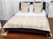 Sale 8990H - Lot 75 - A double bed with charcoal velour bedboard and bedding, Width of headboard 160cm
