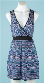 Sale 9027F - Lot 78 - A Missoni Short Sleeved A line dress with wrap front in colourful blues pinks and purples, Size 38