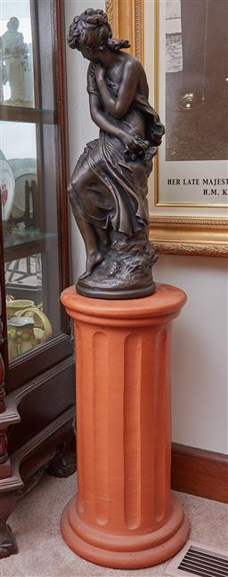 Sale 9103M - Lot 425 - A composite figure of a lady marked Moreau math, on terracotta plinth. Height of plinth 61cm, Figure 62cm