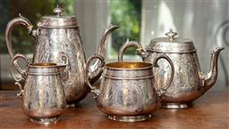 Sale 9120H - Lot 54 - A Victorian hallmarked sterling silver four part tea service comprising of a coffee pot, tea pot, creamer and sugar pot, all bearing...