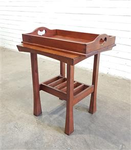 Sale 9146 - Lot 1017 - Timber side table Together with tray (h:53 x w:54 x d:54cm)