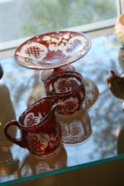 Sale 7875 - Lot 90 - Bohemian Red Overlay Glass Sugar, Creamer & Tazza