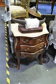 Sale 8035 - Lot 1053 - Marble Top Timber Bedside w 3 Drawers & Brass Fittings