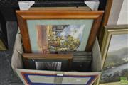 Sale 8214 - Lot 2111 - Box Of Framed Etchings, Darcy Doyle giclee print & Frames, various sizes