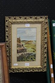 Sale 8346 - Lot 2021 - Artist Unknown - Landscape, signed lower right, 21x12cm, in gilt frame