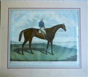 Sale 8362A - Lot 74 - Lord Clifden Antique coloured engraving of a horse and jockey, dated 1863, mounted, unframed, some small tears repairs to edges, i...