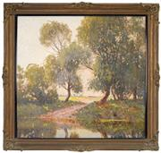 Sale 8443 - Lot 522 - William Lister Lister (1859 - 1943) - River and Country Landscape 65 x 69cm