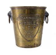 Sale 8444A - Lot 23 - An Art Deco French brass champagne bucket by Giesler, H 20cm  20 cm