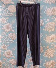Sale 8474A - Lot 34 - A pair of navy pin stripe Giorgio Armani classic wide leg trousers, in excellent condition, size 44