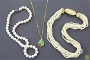 Sale 8546 - Lot 107 - Freshwater Pearls And Other Necklaces Incl Greenstone