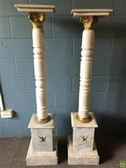 Sale 8649R - Lot 124 - Pair of Graduated White Marble Pedestals with Gilt Brass Detail (H: 142cm)