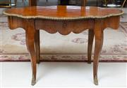 Sale 8677B - Lot 518 - A C19th French burr walnut shaped top centre table on cabriole legs with brass trim, H x 77, W 80cm, Lx 130cm