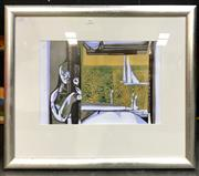 Sale 8945 - Lot 2061 - Artist Unknown - Figure in Interior Scene II oil and mixed media on paper (56 x 66cm, frame), unsigned