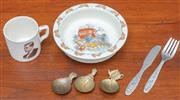 Sale 9058H - Lot 53 - A Royal Doulton Bunnykins bowl together with an EPNS childrens knife and fork set depicting Koalas and a small mug printed with Edwa...
