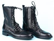 Sale 9083F - Lot 21 - A PAIR OF CASADEI BLACK LEATHER CHAIN LACE UP BOOTS; style Pellame, curb chains either side of the leather lace-up closure, zip open...