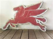 Sale 9080G - Lot 99 - Mobil Oil Pegasus sign , perspex lens in metal frame . surface rust , surface scratches. Some separation on the metal box .Size:90cm...