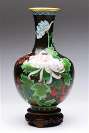 Sale 9086 - Lot 97 - A Cloisonne Chinese Vase On stand H: 36cm