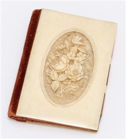 Sale 9180E - Lot 98 - An ivory framed address book with intricately caved floral decoration to front, Length 9.5cm