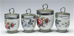 Sale 9164 - Lot 404 - Collection of graduating Royal Worcester Egg Coddlers (H:8cm to 7cm)