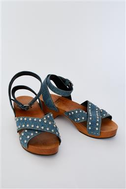 Sale 9095F - Lot 42 - A pair of YSL studded denim and wood strappy clogs, size 38.