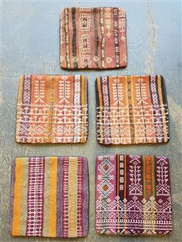 Sale 9174 - Lot 1167 - Collection of 5 Hand knotted pure wool kilim cushion covers (40 x 40cm)