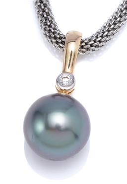 Sale 9194 - Lot 518 - A TAHITIAN PEARL AND DIAMOND ENHANCER PENDANT; 13mm round cultured pearl of good peacock colour and lustre to a 9ct gold bale collet...
