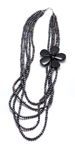 Sale 9246J - Lot 377 - A BLACK PEARL AND STONE SET NECKLACE; 5 strands of  5-7mm off round and circle cultured pearls to 75 x 76mm  flower with central clu...