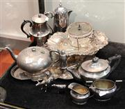 Sale 7969 - Lot 75 - Collection of Silver Plated Wares incl Bachelor Tea Set, Trays, etc