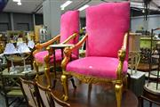 Sale 8035 - Lot 1056 - Pair of Large Gilt Framed Armchairs w Pink Upholstery