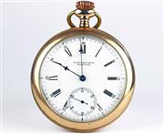Sale 8402W - Lot 5 - HOWARD OPEN FACE POCKET WATCH; white dial, Roman and Arabic markers, subsidiary seconds on a 15 jewell,  movement no. 305038 dial an...