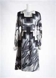 Sale 8493A - Lot 91 - A monochrome patterned highneck long sleeved Tibi dress, size 4, with tag