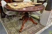 Sale 8515 - Lot 1046 - Timber Supper Table on Single Pedestal and Tripod Base on Castors