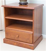Sale 8562A - Lot 152 - A Diamond Creek Furniture Collection mahogany bedside table with single drawer and shelved interior, H 68 x W 60x D 45cm