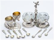 Sale 8414A - Lot 39 - Two silver cruets, one with donkey and baskets, marked 800, plus five salt spoons, the other plated example with crystal bowls, and ...