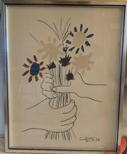 Sale 8510A - Lot 81 - A Picasso print, bunch of flowers, frame size 69cm x 53cm, provenance Woollahra Galleries.