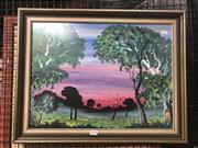 Sale 8784 - Lot 2038 - Artist Unknown - Sunset Glow, acrylic on board, 46 x 59cm, inscribed verso