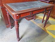 Sale 8956 - Lot 1083 - Small 19th Century French Mahogany Ladys Desk, with leather top, the two short drawers & sides with burr walnut panels, on turned f...