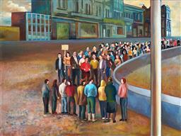Sale 9150 - Lot 555 - TERRY MATASSONI (1959 - ) Crowd, 2007 oil on linen 76 x 101.5 cm (frame: 79 x 104 x 5 cm) signed and dated lower left; Australian Ga...