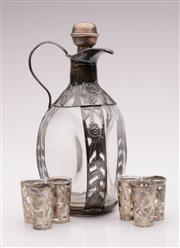 Sale 9044 - Lot 71 - A Floral Themed Mexican Sterling Silver Mounted Drinks Suite Incl Decanter and Six Shot Glasses (Decanter H: 25cm & Shot Glasses 5cm