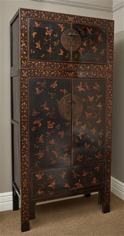Sale 9108H - Lot 14 - A Chinese embossed and gilt wedding cabinet with butterfly and leaf decoration , with removable top Height 240cm x Width 115cm x Dep...