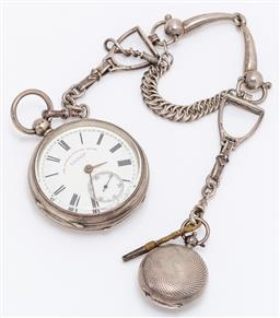 Sale 9180E - Lot 126 - A J.G. Graves Sheffield pocket watch with sterling silver case together with a sterling silver sovereign case, both attached to silv...