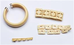 Sale 9144 - Lot 215 - An ivory bangle with silver mounted ends (Dia inside 6cm, dia outside 8cm) together with 2 carved bone examples and a miniature elep...